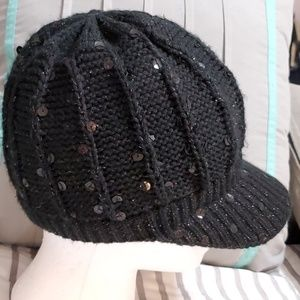 Black Knit Sequined Cap